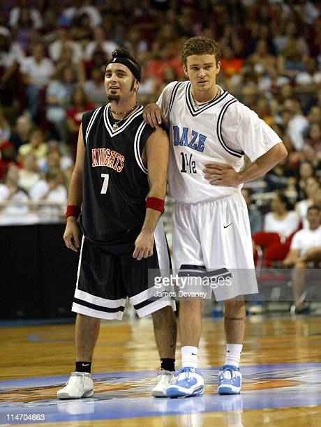 Chris Kirkpatrick and Justin Timberlake during *NSYNC Challenge for the Children IV Celebrity Basketball Game at TD Waterhouse Centre in Orlando...