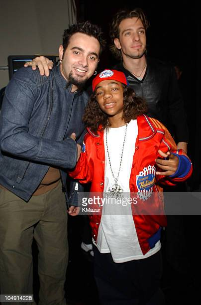 Chris Kirkpatrick JC Chasez and Lil' Bow Wow backstage at the 29th Annual American Music Awards January 9 2002 at the Shrine Auditorium in Los Angeles