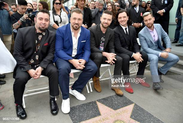 Chris Kirkpatrick Joey Fatone Justin Timberlake JC Chasez and Lance Bass of NSYNC are honored with a star on the Hollywood Walk of Fame on April 30...