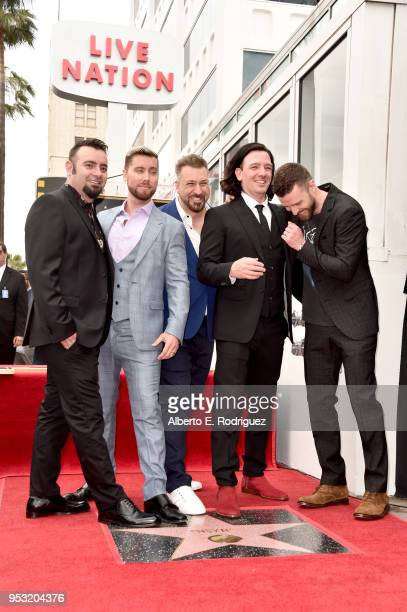 Chris Kirkpatrick Lance Bass Joey Fatone JC Chasez and Justin Timberlake of NSYNC are honored with a star on the Hollywood Walk of Fame on April 30...