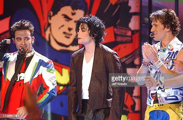 Chris Kirkpatrick Michael Jackson and JC Chasez during 2001 MTV Video Music Awards Show at Metropolitan Opera House in New York City New York United...
