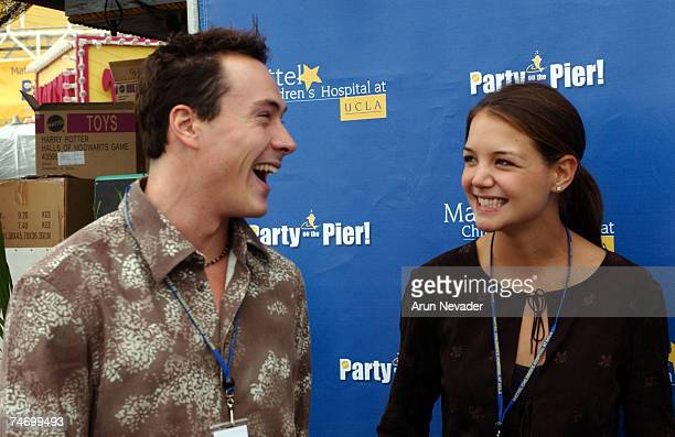 Chris Klein and Katie Holmes at the Pacific Park on the Santa MonicaPier in Santa Monica California