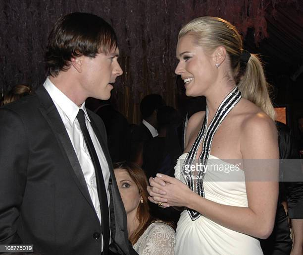 Chris Klein and Rebecca Romijn during In Style and Warner Bros. 2007 Golden Globe After Party - Inside at Beverly Hilton Hotel in Beverly Hills,...