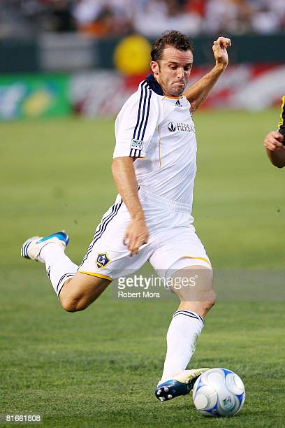 Chris Klein of the Los Angeles Galaxy looks to attack the defense during their MLS game against the Columbus Crew at Home Depot Center on June 21...