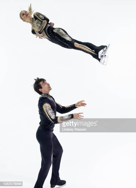 Chris Knierim and Alexa Scimeca Knierim compete in the Pairs Short Program during the ISU Grand Prix of Figure Skating Skate America at Angel of the...