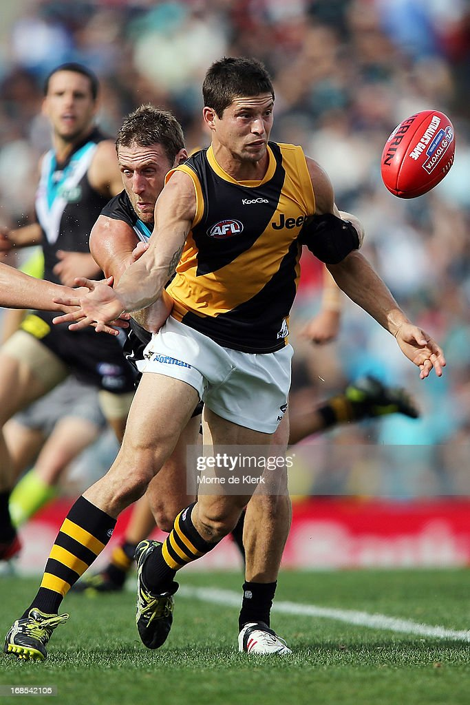 Chris Knights of the Tigers competes for the ball during the round seven AFL match between Port Adelaide Power and the Richmond Tigers at AAMI Stadium on May 11, 2013 in Adelaide, Australia.