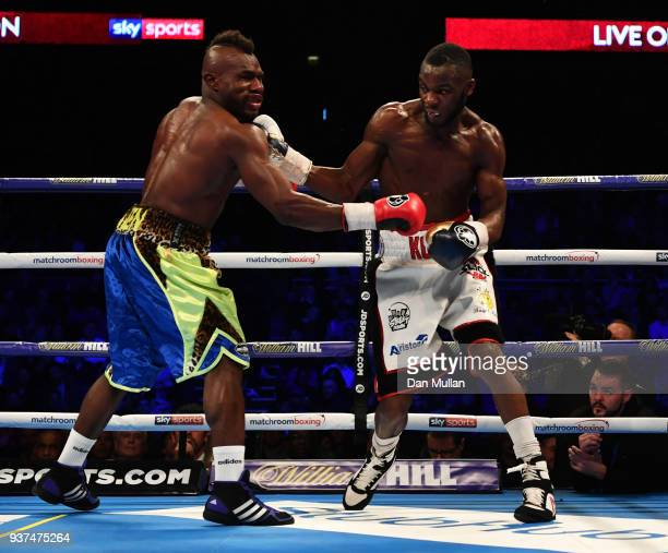 Chris Kongo and Serge Ambomo in action during their Welterweight contest at The O2 Arena on March 24 2018 in London England