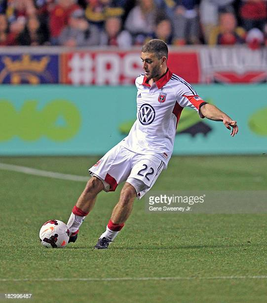Chris Korb of DC United directs the ball downfield against Real Salt Lake during the 2013 US Open Cup Final at Rio Tinto Stadium October 1 2013 in...