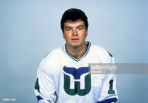 Chris Kotsopoulos of the Hartford Whalers poses for a portrait in October 1982 in Hartford Connecticut