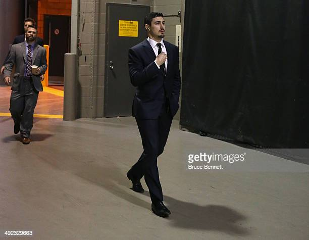 Chris Kreider of the New York Rangers arrives prior to Game Two of the Eastern Conference Final against the Montreal Canadiens during the 2014...