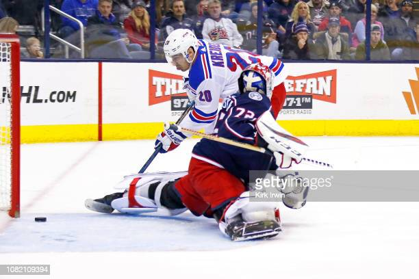 Chris Kreider of the New York Rangers beats Sergei Bobrovsky of the Columbus Blue Jackets for a goal during the first period on January 13 2019 at...