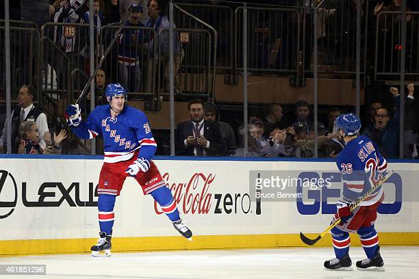 Chris Kreider of the New York Rangers celebrates after scoring a goal in the third period against Craig Anderson of the Ottawa Senators during their...
