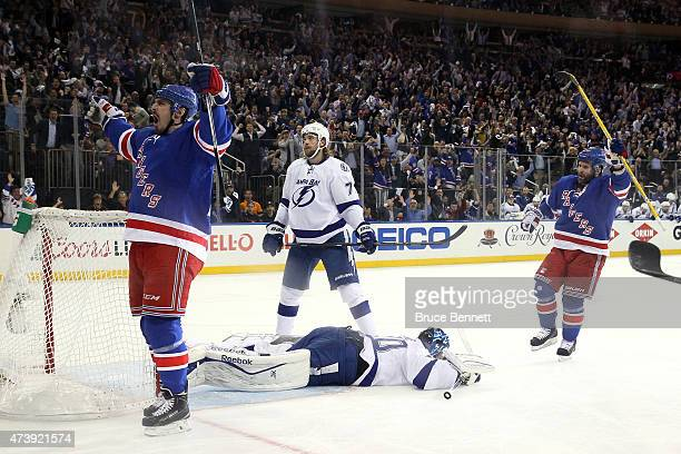 Chris Kreider of the New York Rangers celebrates after scoring a goal in the first period against Ben Bishop of the Tampa Bay Lightning during Game...