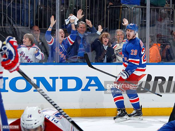 Chris Kreider of the New York Rangers celebrates scoring the game tying goal in the third period of Game Three of the Eastern Conference Final...