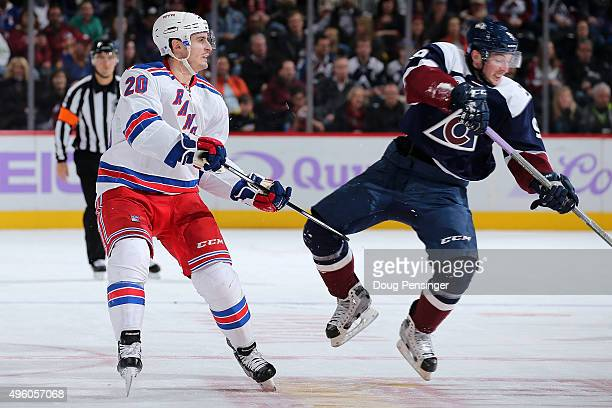 Chris Kreider of the New York Rangers draws a penalty for tripping against Matt Duchene of the Colorado Avalanche in the second period at Pepsi...