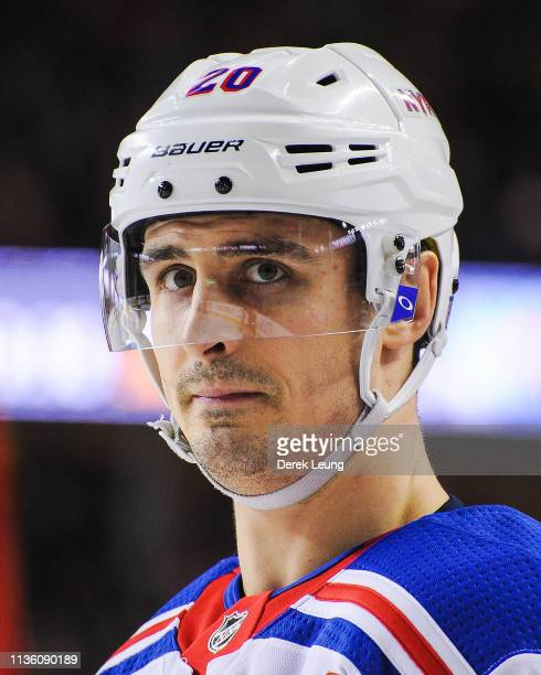 Chris Kreider of the New York Rangers in action against the Calgary Flames during an NHL game at Scotiabank Saddledome on March 15 2019 in Calgary...