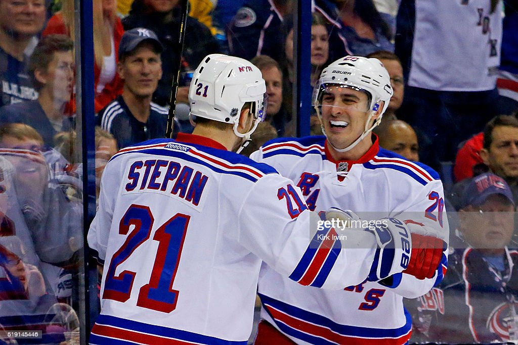 Chris Kreider #20 of the New York Rangers is congratulated by Derek Stepan #21 of the New York Rangers after scoring a goal during the first period of the game against the Columbus Blue Jackets on April 4, 2016 at Nationwide Arena in Columbus, Ohio.