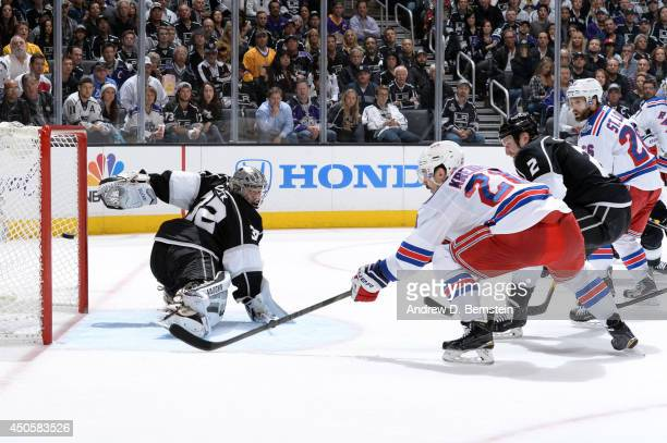 Chris Kreider of the New York Rangers scores a goal against Jonathan Quick of the Los Angeles Kings in the second period of Game Five of the 2014 NHL...