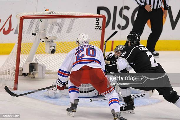 Chris Kreider of the New York Rangers scores a goal against Jonathan Quick of the Los Angeles Kings during the second period of Game Five of the 2014...