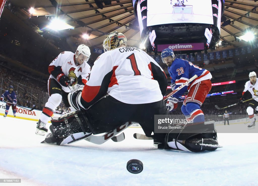 Chris Kreider #20 of the New York Rangers scores a third period goal against Mike Condon #1 of the Ottawa Senators in Game Four of the Eastern Conference Second Round during the 2017 NHL Stanley Cup Playoffs at Madison Square Garden on May 4, 2017 in New York City. The Rangers defeated the Senators 4-1.