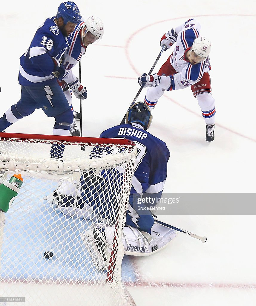 Chris Kreider #20 of the New York Rangers scores at 15:16 of the second period against Ben Bishop #30 of the Tampa Bay Lightning in Game Four of the Eastern Conference Finals during the 2015 NHL Stanley Cup Playoffs at Amalie Arena on May 22, 2015 in Tampa, Florida. The Rangers defeated the Lighjtning 5-1.