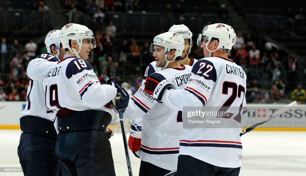 Chris Kreider (L) of United States celebrates after scoring the 10:0 during the IIHF World Championship final round match between USA and Kazakhstan at Lanxess Arena on May 15, 2010 in Cologne, Germany.