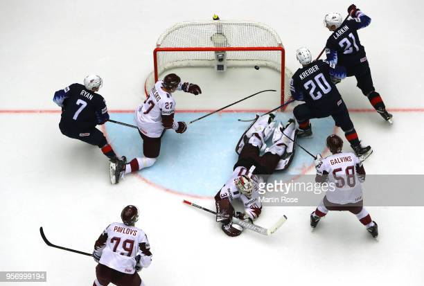 Chris Kreider of United States scores the opening goal during the 2018 IIHF Ice Hockey World Championship Group B game between United States and...
