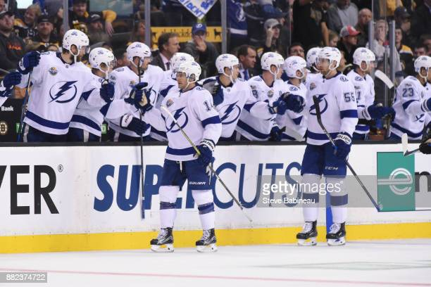 Chris Kunitz and Braydon Coburn of the Tampa Bay Lightning celebrate a goal in the second period against the Boston Bruins at the TD Garden on...