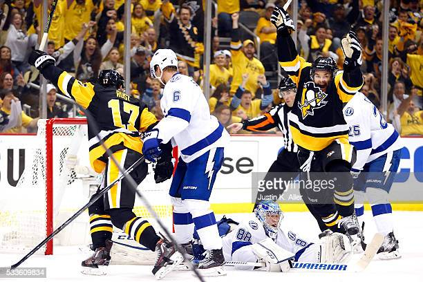 Chris Kunitz of the Pittsburgh Penguins celebrates after scoring a goal against Andrei Vasilevskiy of the Tampa Bay Lightning during the second...