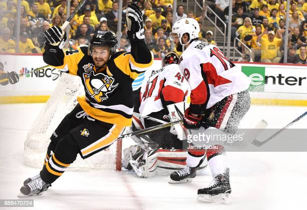 Chris Kunitz of the Pittsburgh Penguins celebrates after scoring a goal against Craig Anderson of the Ottawa Senators during the second period in...