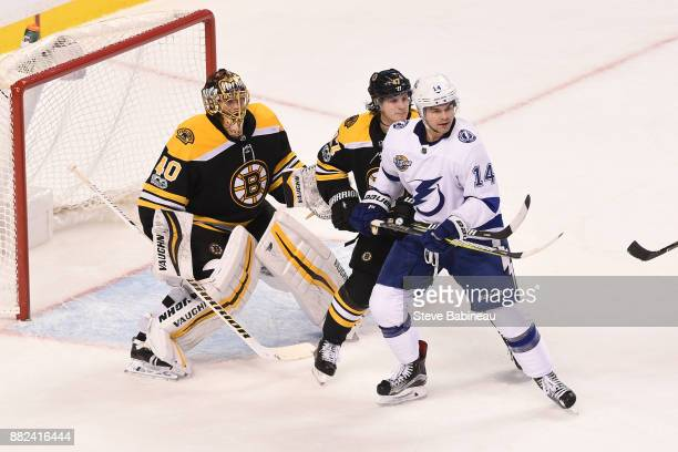 Chris Kunitz of the Tampa Bay Lightning watches the play against Tuukka Rask and Torey Krug of the Boston Bruins at the TD Garden on November 29 2017...