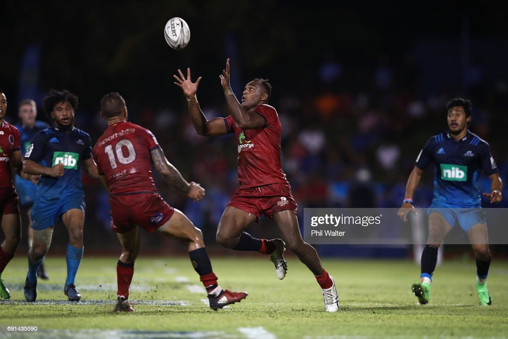 Chris Kuridrani of the Reds collects the loose ball during the round 15 Super Rugby match between the Blues and the Reds at Apia Park National Stadium on June 2, 2017 in Apia, Samoa.