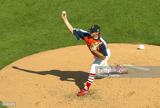 Chris Lambert of Team USA throws a pitch during the 2005 Major League Baseball Futures Game at Comerica Park on July 10, 2005 in Detroit, Michigan.