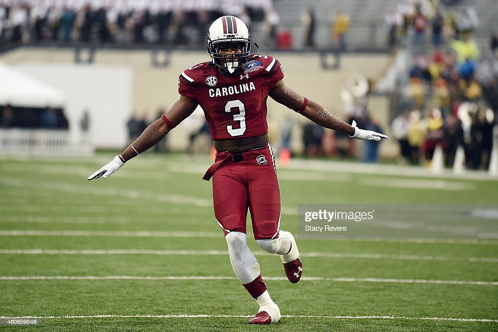 Chris Lammons #3 of the South Carolina Gamecocks reacts to a defensive stop against the Miami Hurricanes during the third quarter of the Duck Commander Independence Bowl at Independence Stadium on December 27, 2014 in Shreveport, Louisiana.