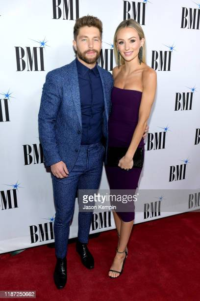 Chris Lane and his wife Lauren Bushnell attends the 67th Annual BMI Country Awards at BMI on November 12 2019 in Nashville Tennessee