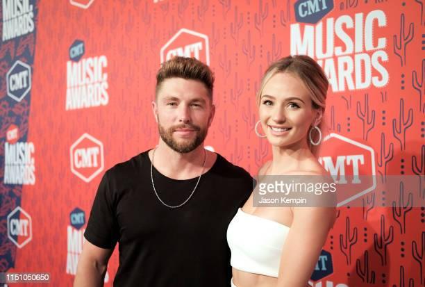 Chris Lane and Lauren Bushnell attend the 2019 CMT Music Award at Bridgestone Arena on June 5 2019 in Nashville Tennessee