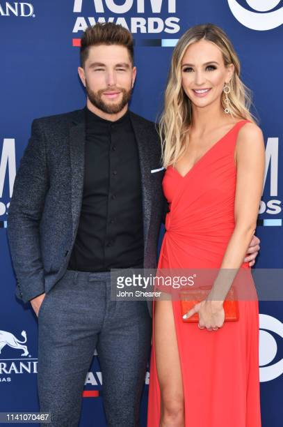 Chris Lane and Lauren Bushnell attend the 54th Academy Of Country Music Awards at MGM Grand Hotel Casino on April 07 2019 in Las Vegas Nevada