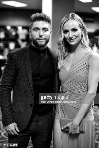 Chris Lane and Lauren Bushnell attend the 54th Academy Of Country Music Awards at MGM Grand Garden Arena on April 07 2019 in Las Vegas Nevada