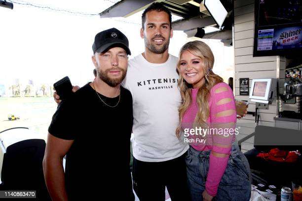 Chris Lane Eric Decker and Lauren Alaina attend the ACM Lifting Lives TOPGOLF TeeOff at TOPGOLF on April 06 2019 in Las Vegas Nevada
