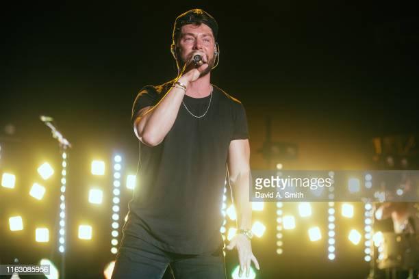 Chris Lane performs at Oak Mountain Amphitheatre on July 19, 2019 in Birmingham, Alabama.