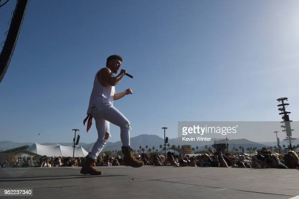 Chris Lane performs onstage during 2018 Stagecoach California's Country Music Festival at the Empire Polo Field on April 27 2018 in Indio California