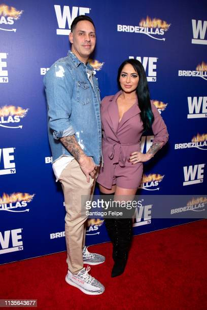 Chris Larangeira and Angelina Pivarnick attend WE TV 'Bridezillas' season 12 fashion show at The Angel Orensanz Foundation on March 13 2019 in New...