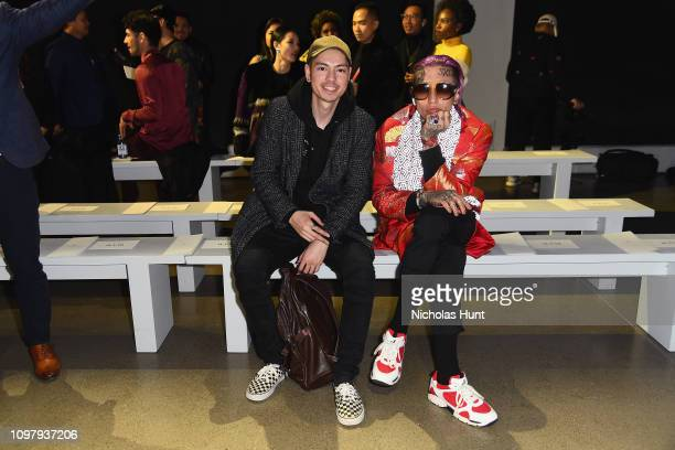 Chris Lavish and a guest attend the Cong Tri front row during New York Fashion Week The Shows at Gallery II at Spring Studios on February 11 2019 in...