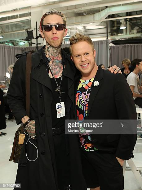 Chris Lavish and Andrew Werner pose for a photo backstage before the General Idea fashion show during New York Fashion Week Men's S/S 2017 at...