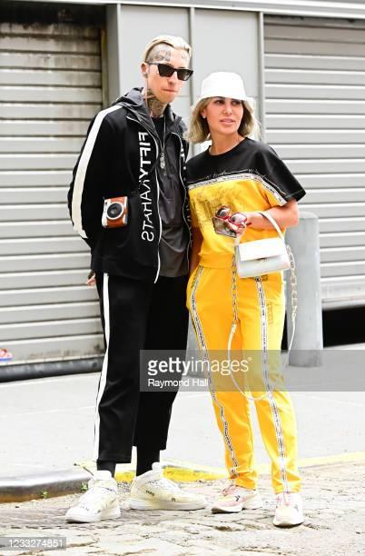 Chris Lavish and Olga Ferrara are seen at a photoshoot in SoHo on June 4, 2021 in New York City.