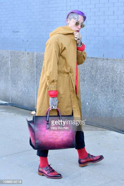 Chris Lavish arrives and poses at Spring Studios during NYFW The Shows during New York Fashion Week The Shows at Spring Studios on February 8 2019 in...