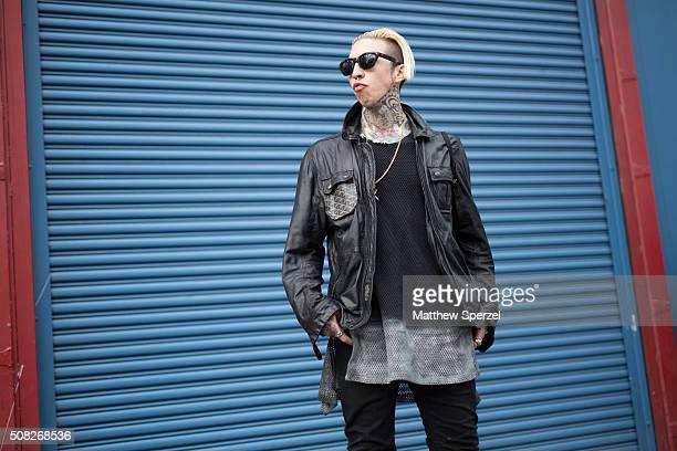 Chris Lavish is seen at Pier 59 Studios wearing custom Diesel Gold jacket KTZ fishnet shirt G Star jeans 2012 Margiela shoes and Lanvin sunglasses...