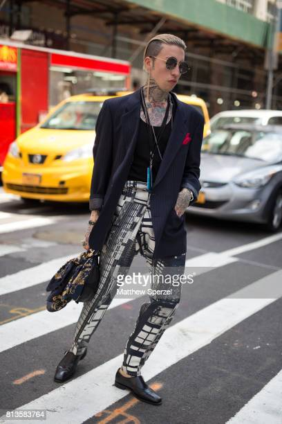 Chris Lavish is seen attending Kenneth Ning at Cadillac House during Men's New York Fashion Week wearing Christian Dior Gucci Atelier and Ferragamo...