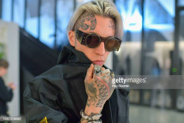 Chris Lavish waits to enter the C Plus Series show in Gallery I during New York Fashion Week The Shows at Spring Studios on September 12 2018 in New...