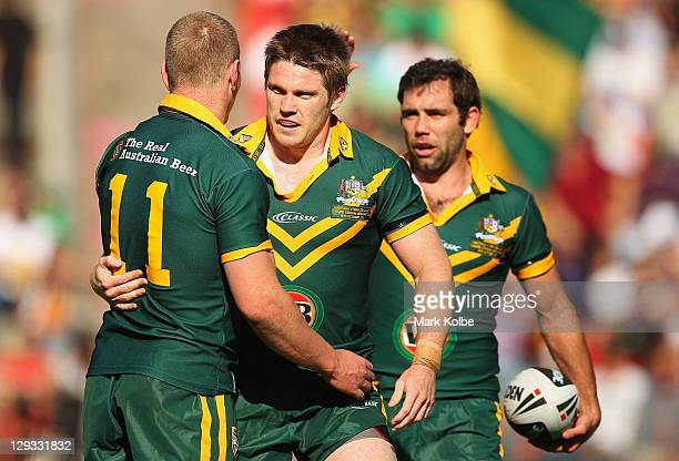 Chris Lawrence of the Kangaroos celebrates after scoring a try during the International Test match between the Australian Kangaroos and the New...